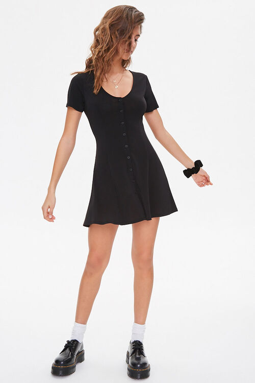Buttoned Fit & Flare Mini Dress, image 4