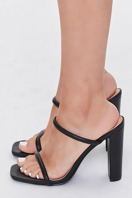 BLACK Faux Leather Block Heels, image 2