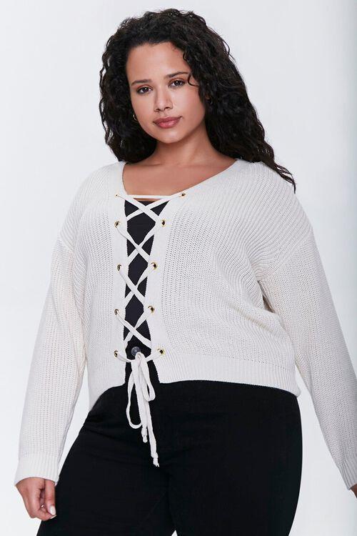 Plus Size Lace-Up Cardigan Sweater, image 1