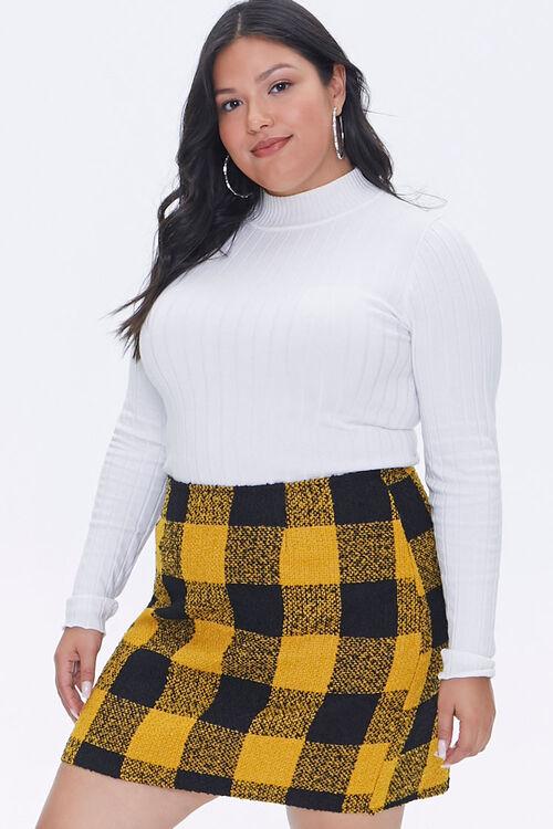 Plus Size Tweed Buffalo Plaid Skirt, image 1