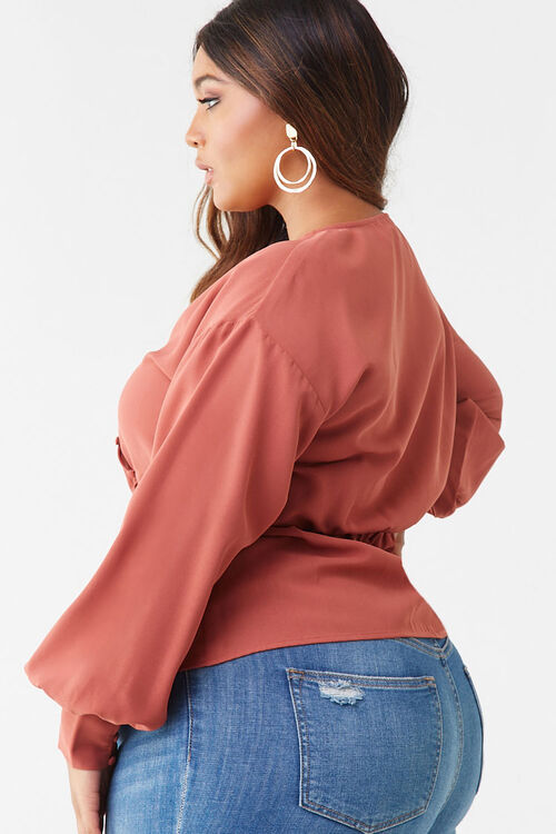 Plus Size Button-Loop Top, image 2