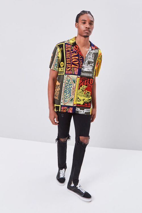Retro Rock Patchwork Fitted Shirt, image 4