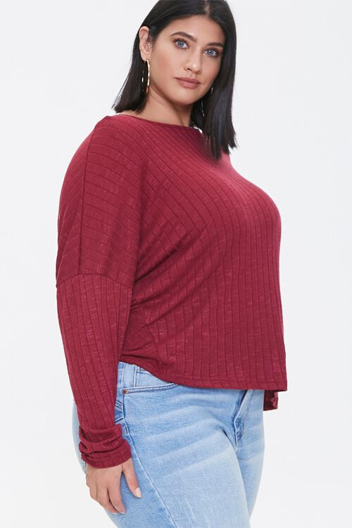Plus Size Ribbed Twist-Back Top, image 2