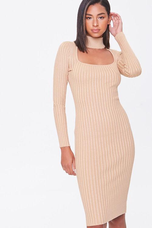 Ribbed Mock Neck Sweater Dress, image 1