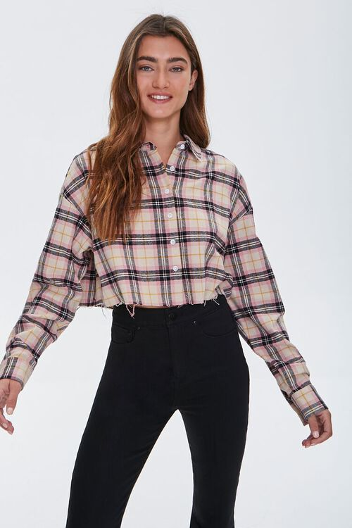 Cropped Flannel Shirt, image 1