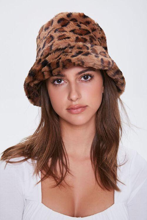 Faux Fur Leopard Print Bucket Hat, image 2