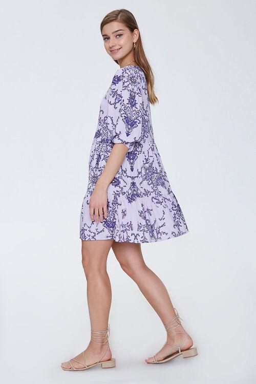 Ornate Floral Print Swing Dress, image 2