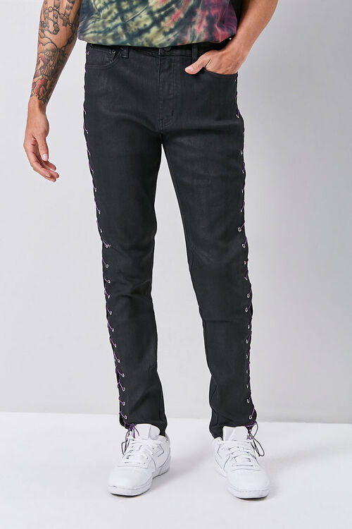 Lace-Up Skinny Jeans, image 2