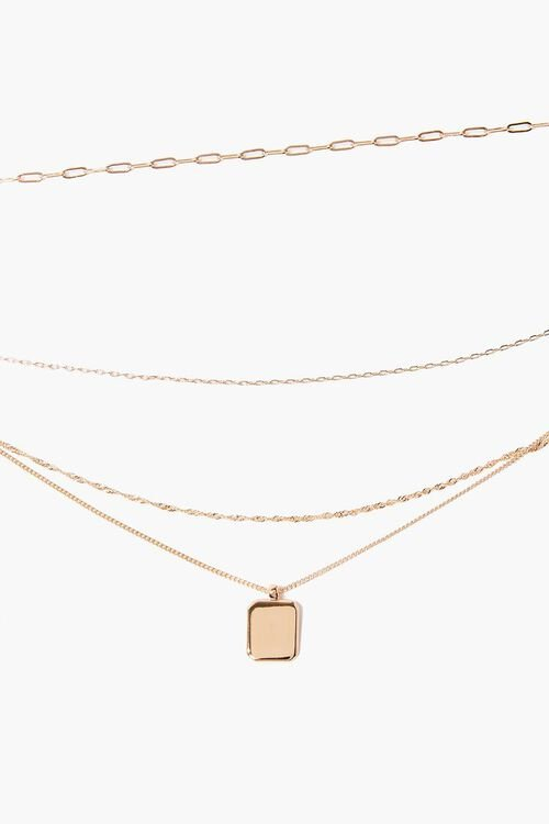 GOLD Square Pendant Layered Necklace, image 1