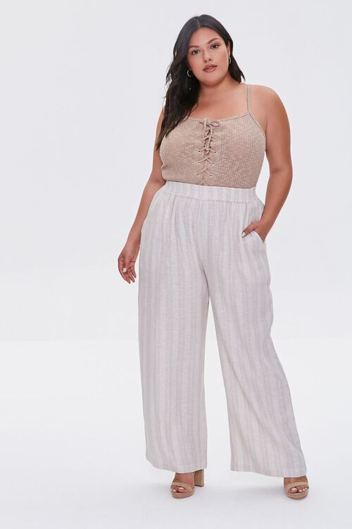 KHAKI/IVORY Plus Size Striped Linen Pants, image 1