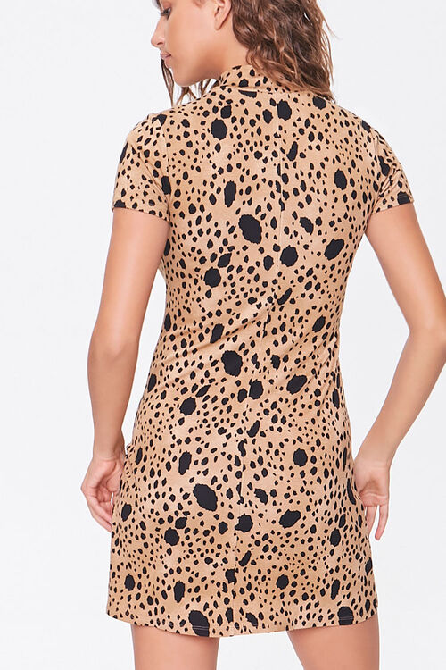 BROWN/BLACK Spotted Bodycon Dress, image 3