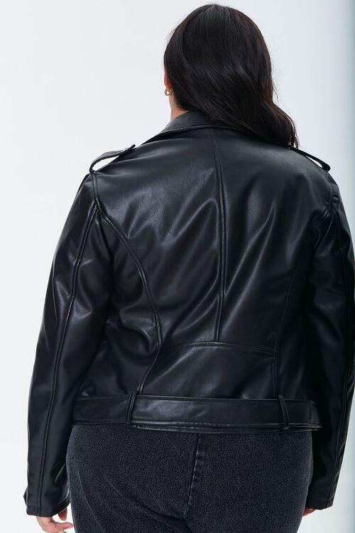 BLACK Plus Size Faux Leather Moto Jacket, image 3