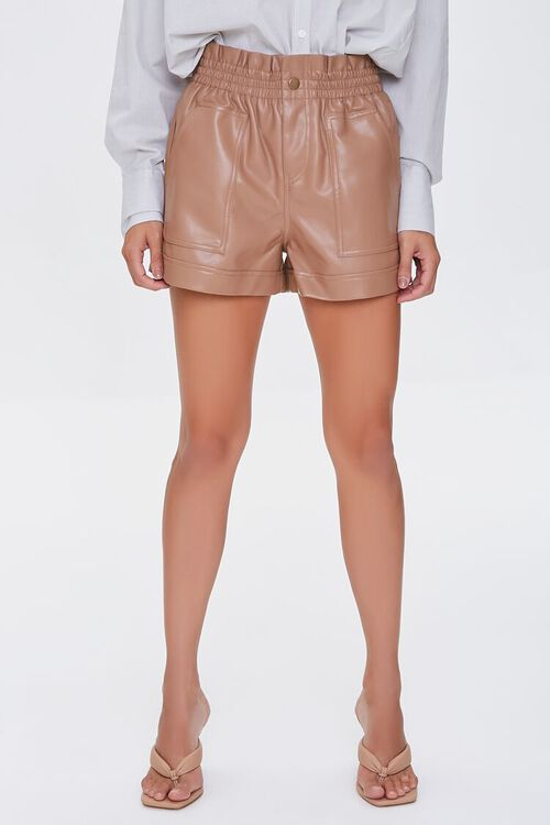 Faux Leather High-Rise Shorts, image 2