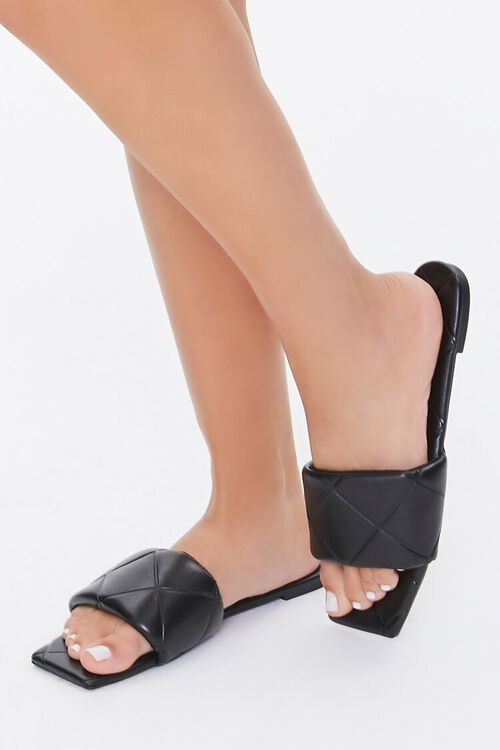 BLACK Quilted Square-Toe Sandals, image 1