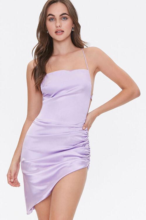 Satin Lace-Up Back Dress, image 1