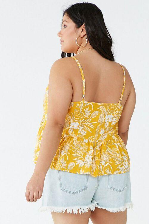 Plus Size Tropical Print Ruffle-Hem Cami, image 3