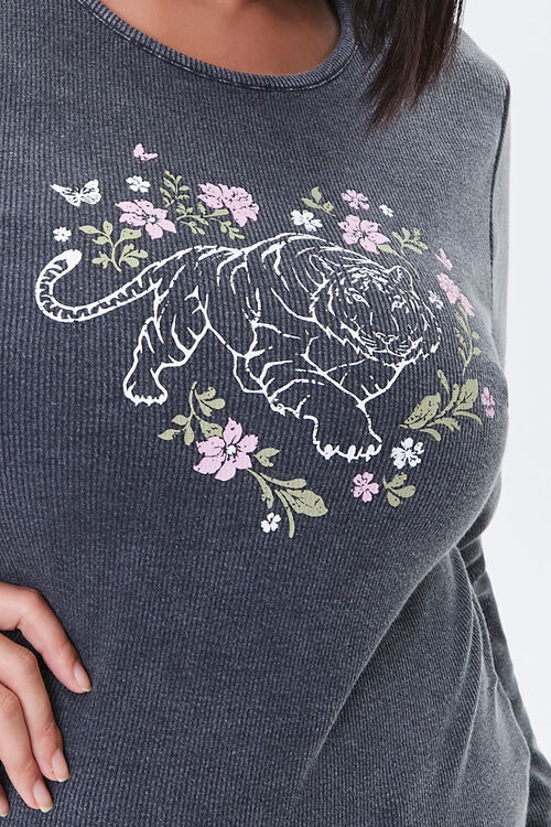 Plus Size Floral Tiger Graphic Top, image 5