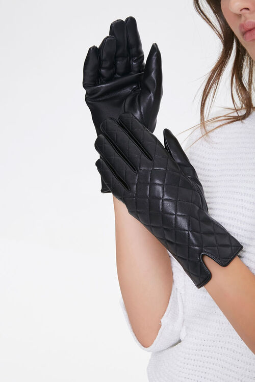 Quilted Faux Leather Gloves, image 1