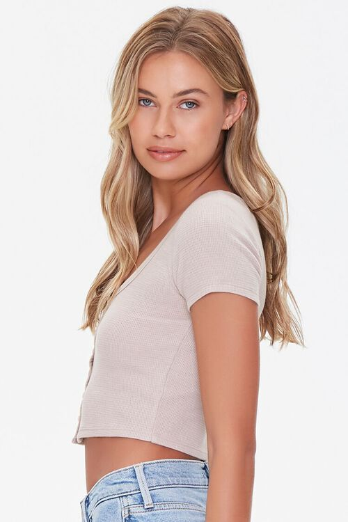 TAUPE Button-Front Crop Top, image 2