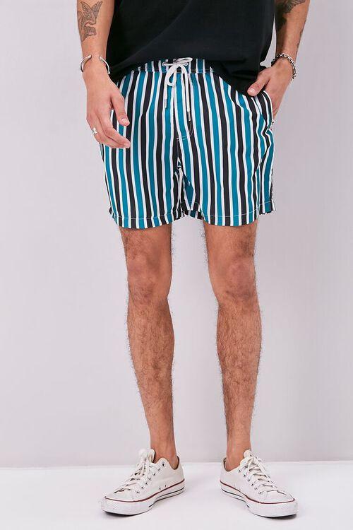Striped Print Swim Trunks, image 2