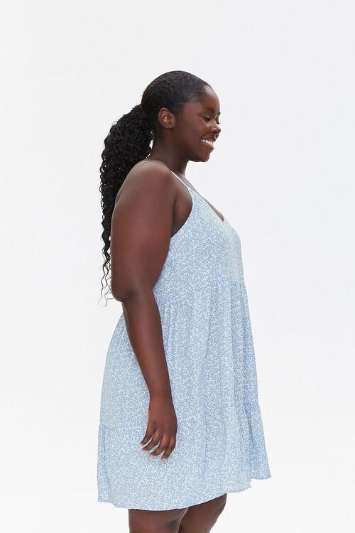 LIGHT BLUE/MULTI Plus Size Floral Print Mini Dress, image 2
