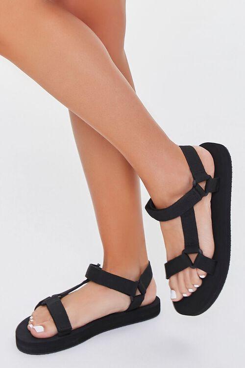BLACK Strappy Flatform Sandals, image 1