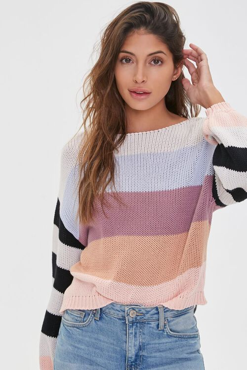 Striped-Sleeve Colorblock Sweater, image 1