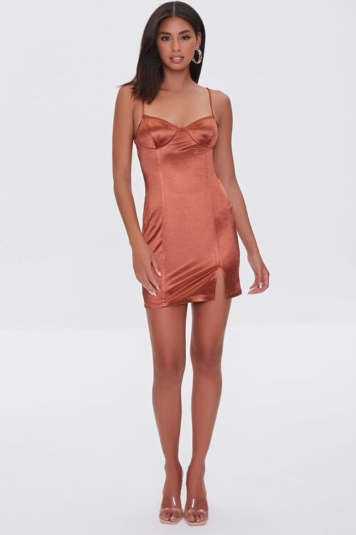 BROWN Satin Bodycon Mini Dress, image 4