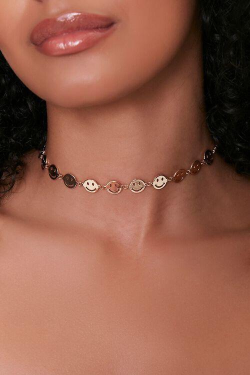 GOLD Smiling Disc Pendant Choker Necklace, image 1
