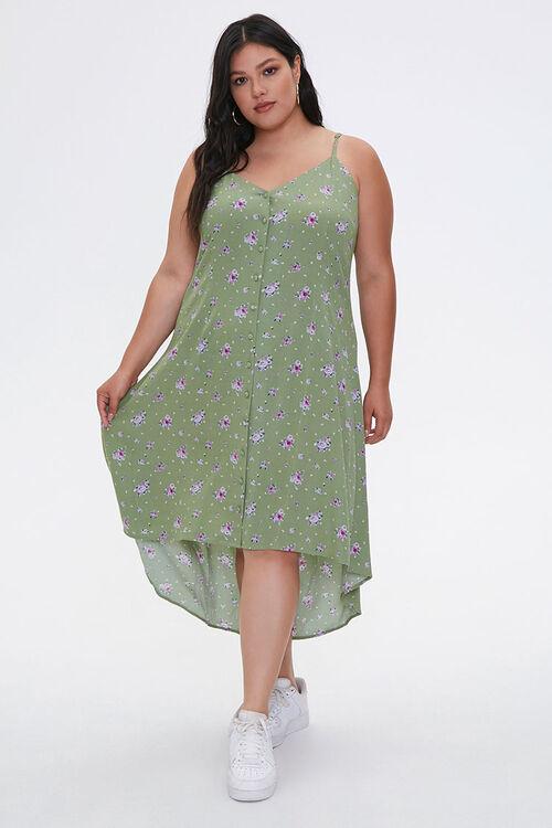 Plus Size Floral High-Low Dress, image 1
