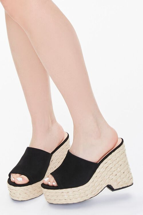 BLACK Faux Suede Espadrille Block Heels, image 5