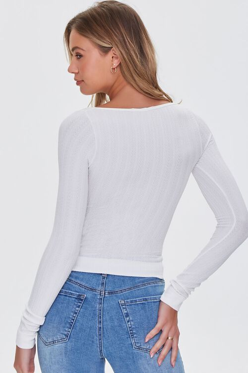 IVORY Ribbed Knit Scoop Top, image 3