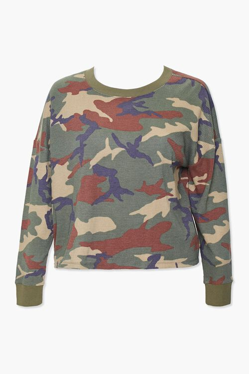 Plus Size Camo Thermal Top, image 1