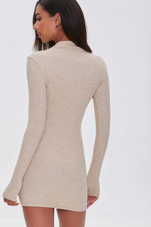 TAUPE Heathered Ribbed Knit Mini Dress, image 3