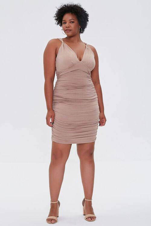 TAUPE Plus Size Ruched Bodycon Dress, image 4