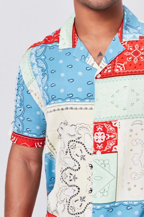 BLUE/MULTI Patchwork Bandana Print Fitted Shirt, image 5