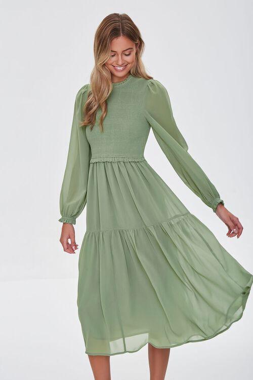 Smocked Peasant-Sleeve Dress, image 1
