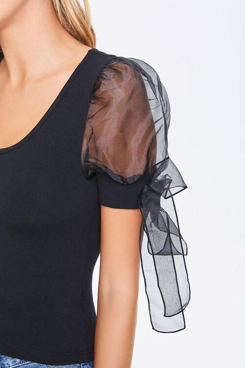 Self-Tie Puff Sleeve Top, image 5