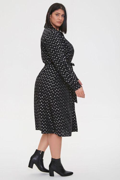 BLACK/SILVER Plus Size Polka Dot Shirt Dress, image 3