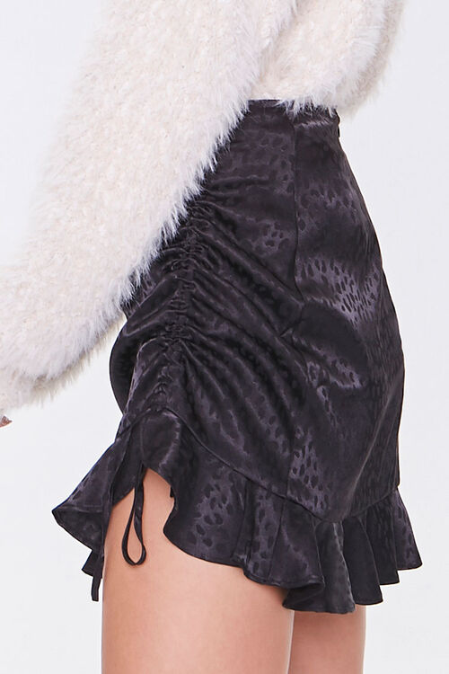 BLACK Satin Cheetah Print Mini Skirt, image 3