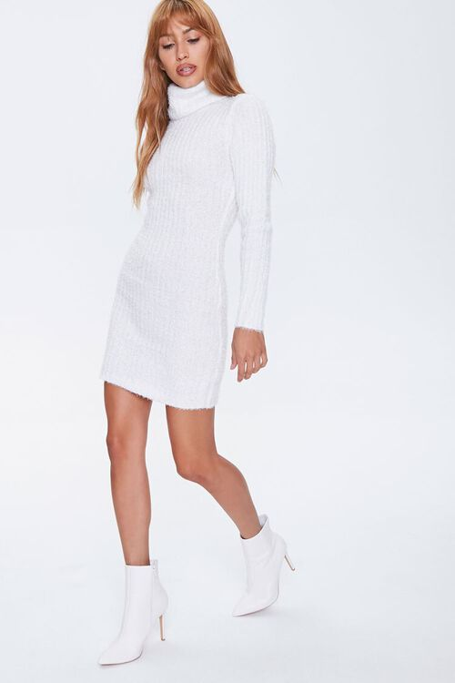 Fuzzy Knit Turtleneck Sweater Dress, image 1