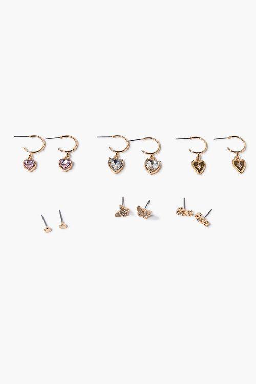 Heart Charm Hoop & Stud Earring Set, image 1