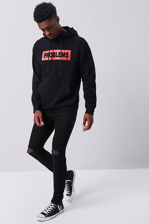 BLACK/RED Problems Graphic Fleece Hoodie, image 4