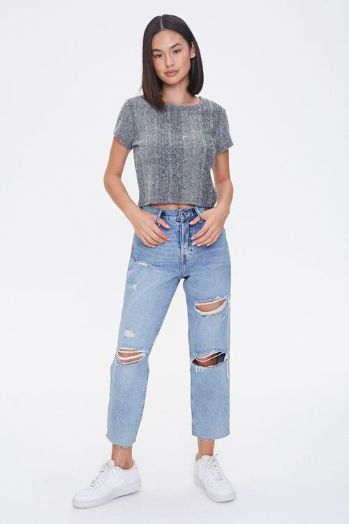 CHARCOAL HEATHER Ribbed Form-Fitting Tee, image 4