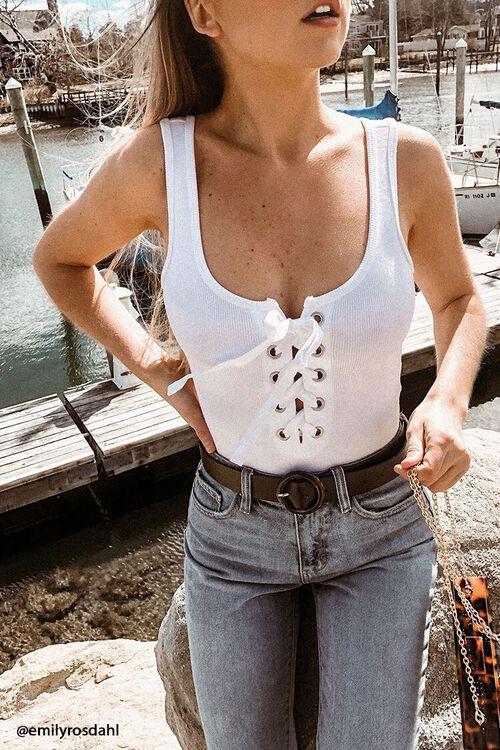 Ribbed Lace-Up Bodysuit, image 1