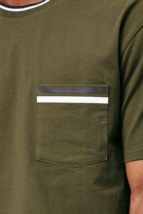 OLIVE/MUSTARD Contrast-Trim Pocket Tee, image 5