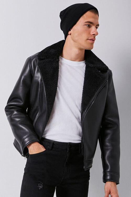Faux Leather & Faux Shearling Moto Jacket, image 1