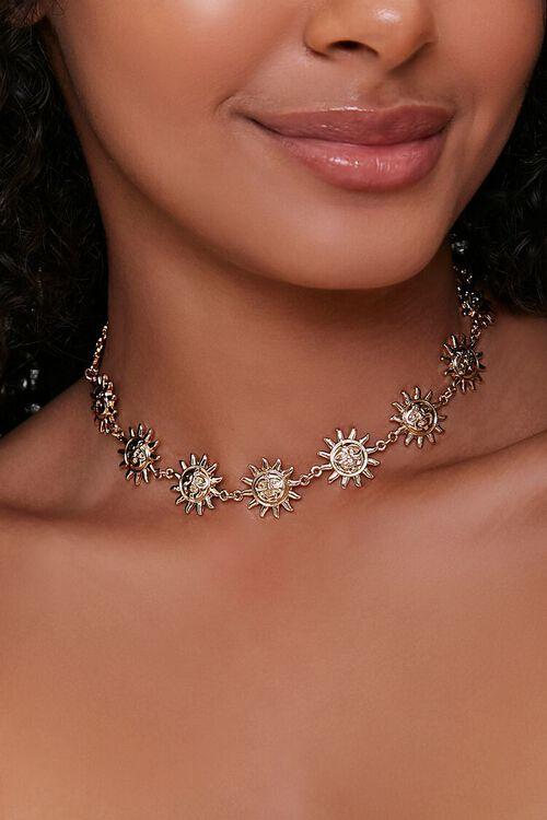 GOLD Sun Pendant Choker Necklace, image 1