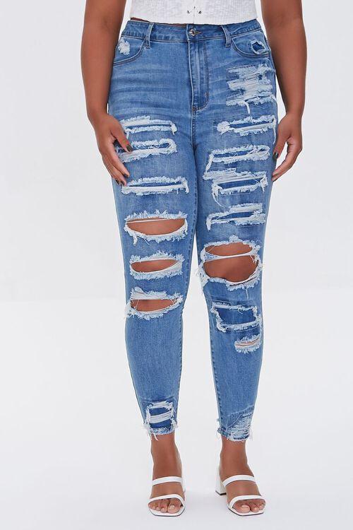 BLUE Plus Size Premium Distressed Boyfriend Jeans, image 2