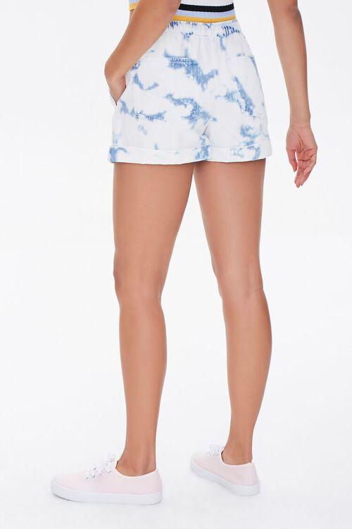 WHITE/BLUE Bleach Dye Drawstring Shorts, image 4